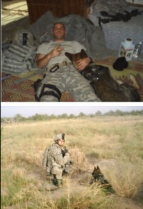 Two photos of military dog handlers.